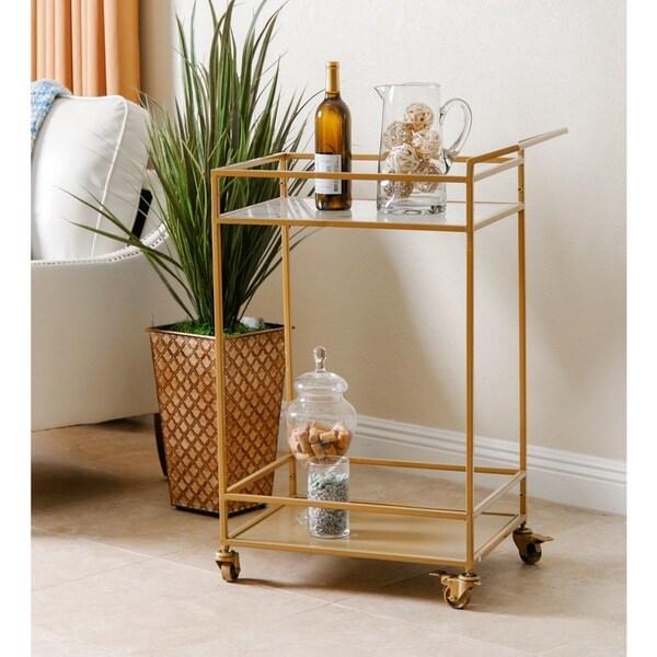 Abbyson Marriot Gold Kitchen Bar Cart