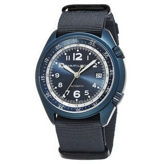 Hamilton Men's H80495845 'Khaki Aviation' Blue Dial Blue Nylon Strap Pilot Pioneer Aluminum Swiss Automatic Watch