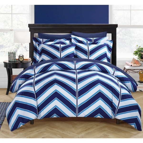 Chic Home Dallas Navy 9-Piece Bed in a Bag with Sheet Set