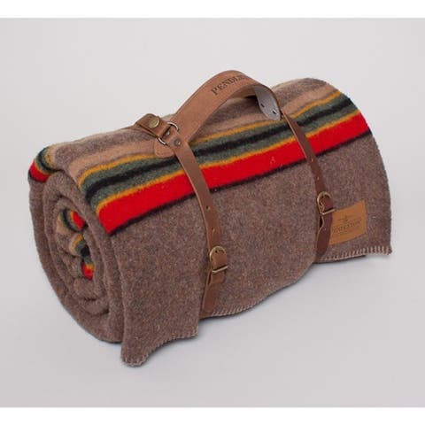 Pendleton Yakima Mineral Umber Camp Blanket Twin With Leather Carrier