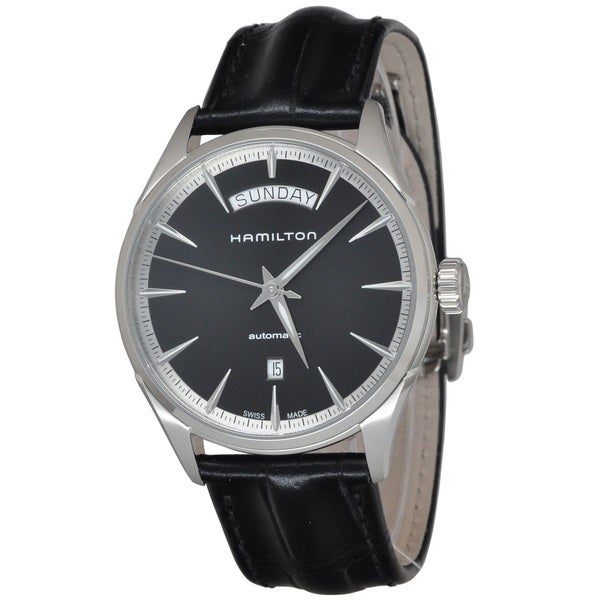 c25e13cc1 Shop Hamilton Men's H42565731 'Jazzmaster' Black Dial Black Leather ...