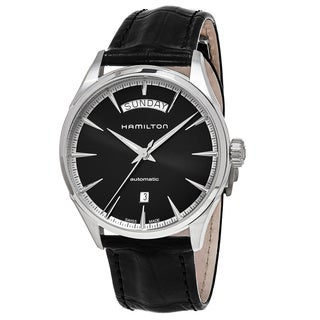 Hamilton Men's H42565731 'Jazzmaster' Black Dial Black Leather Strap Day Date Swiss Automatic Watch