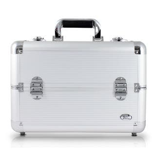 Jacki Design Silver Aluminum Professional Makeup Train Case With Adjustable Dividers|https://ak1.ostkcdn.com/images/products/11897762/P18792043.jpg?impolicy=medium