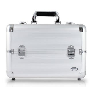Jacki Design Silver Aluminum Professional Makeup Train Case With Adjustable Dividers