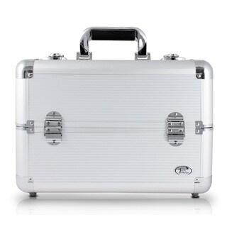 Jacki Design Silver Aluminum Professional Makeup Train Case With Adjustable Dividers
