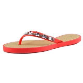 Qupid Women's 'Jammy 08' Orange Synthetic Low-heel Sandals