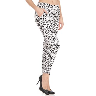 Dinamit Women's Trendy Black and White Numbers Drawstring Pants