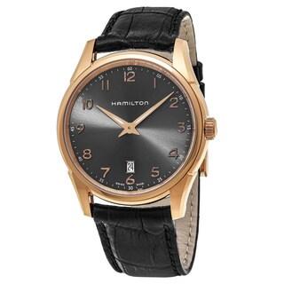 Hamilton Men's H38541783 'Jazzmaster' Grey Dial Black Leather Strap Thin line Swiss Quartz Watch