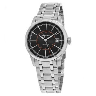 Hamilton Men's 'Timeless Class' Black Dial Stainless Steel Railroad Swiss Automatic Watch