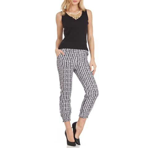 Women's Jagger Trendy Black-and-white Striped Polyester Soft Pants