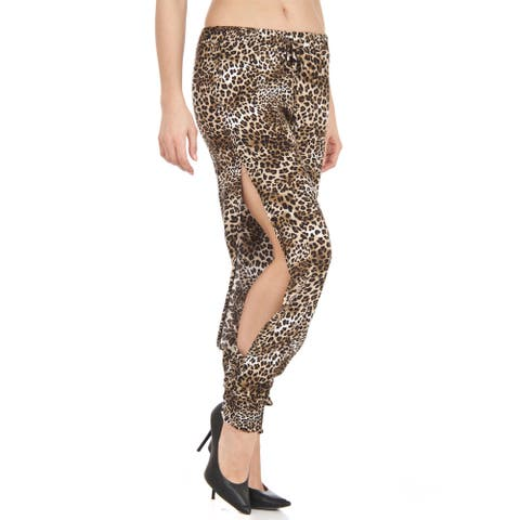 Women's Cheetah Print Chiffon Open-side, Loose-fit Soft Pants