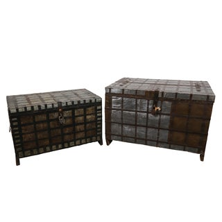 Wanderloot 'One of a Kind' Antique Early 1900's British Colonial Raj Era Indian Wood Metal Trunk/ Dowry Chest (India)
