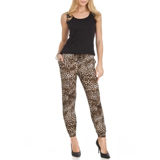 Dinamit Women's Cheetah-print Chiffon/Polyester Loose-fit Pants