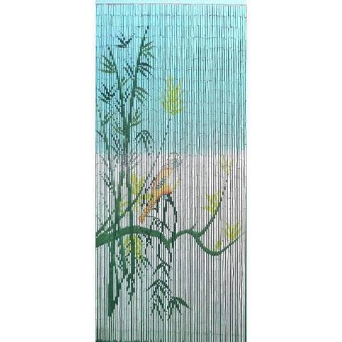 Bird On a Bamboo Tree Scene Curtain (Vietnam)