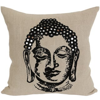 Wanderloot 20-inch Hand Embroidered Buddha Linen Accent Throw Pillow Cover with Mirror Detail (India)