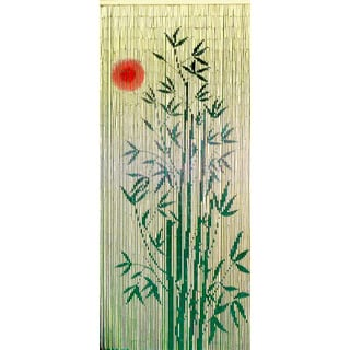 Handmade Red Sun Bamboo Tree Scene Curtain (Vietnam)