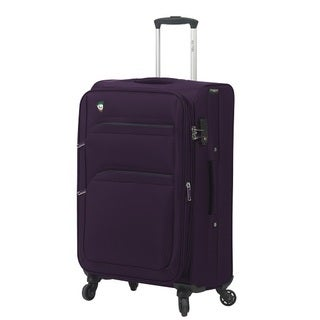 Mia Toro Italy Alagna Grey/Green/Brown Polyester 24-inch Expandable Spinner Upright Suitcase