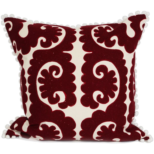 Wanderloot 20-inch Hand Appliqued Lucknow Cotton Accent Throw Pillow Cover with White Pom Pom Trim (India)