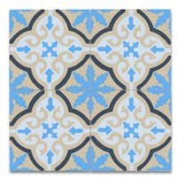 Argana Blue and Yellow Handmade Moroccan 8 x 8 inch Cement and Granite Floor or Wall Tile (Case of 12)