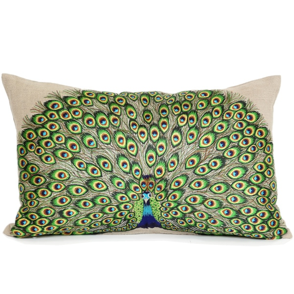 Wanderloot 14 x 22-inch Hand Embroidered Peacock Cotton Accent Throw Pillow Cover