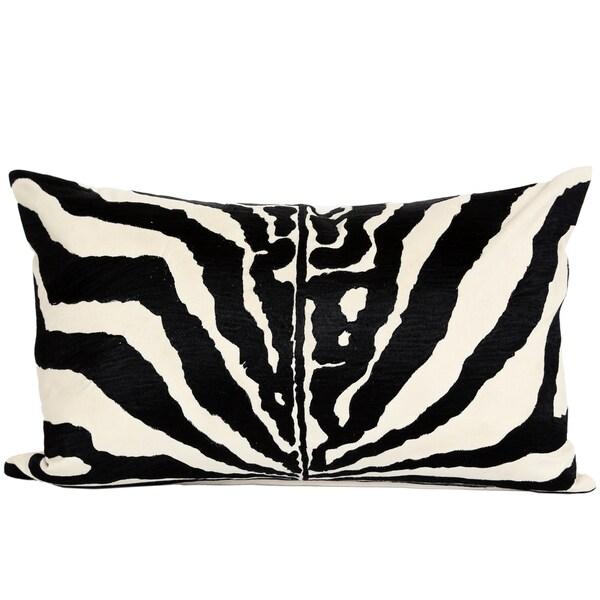 Wanderloot 14 x 22-inch Handmade Zebra Cotton Accent Throw Pillow Cover (India)