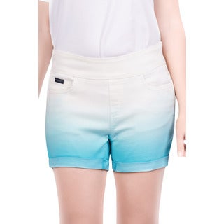 Bluberry Women's Limpet Shell Blue Cotton/Polyester/Spandex Plus Size Dip-dyed Shorts