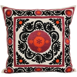 Wanderloot 20-inch Handmade Suzani Cotton Accent Throw Pillow Cover (India)