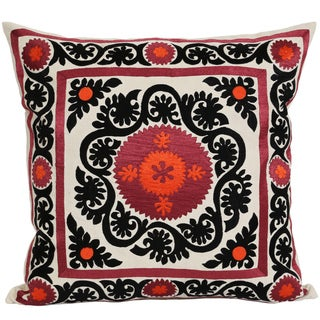Wanderloot 20-inch Hand Embroidered Suzani Cotton Accent Throw Pillow Cover