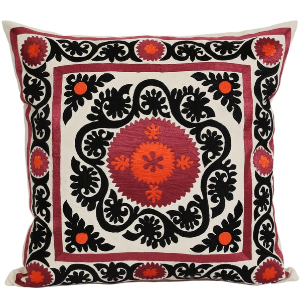 Wanderloot 20 inch Handmade Suzani Cotton Accent Throw Pillow