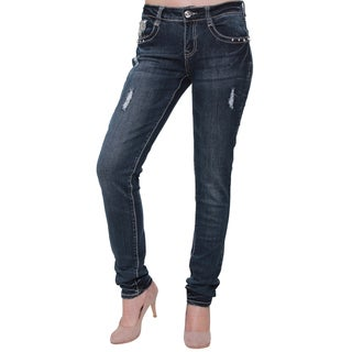 Sexy Couture Women's Distressed Dark Denim Studded Skinny Jeans