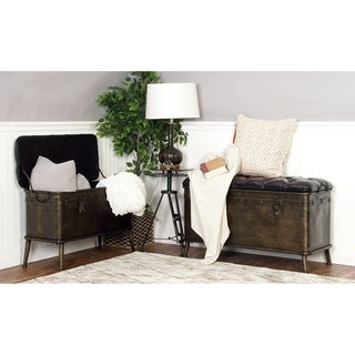 Modern Metal and Leather Nesting and Storage Bench (Set Of 2)