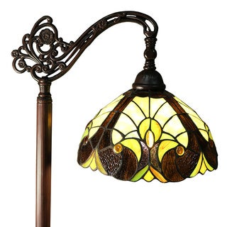Carlisle Bronze Metal/ Glass 62-inch 1-light Geometric Tiffany-style Floor Lamp