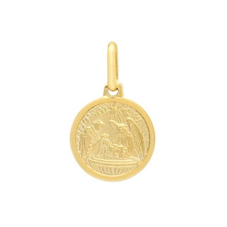 Sterling Essentials Italian 14K Gold Baptismal Medal Pendant