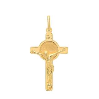 Sterling Essentials Italian 14K Gold 28 x 18 mm San Benito Cross