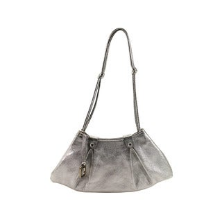 Orciani Silver Leather Women's Evening Bag
