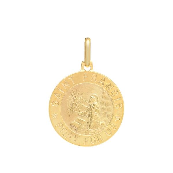 Sterling Essentials Italian 14K Gold 18 mm St. Francis Medal Pendant