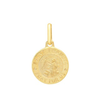 Sterling Essentials Italian 14K Gold 12 mm St. Francis Medal Pendant