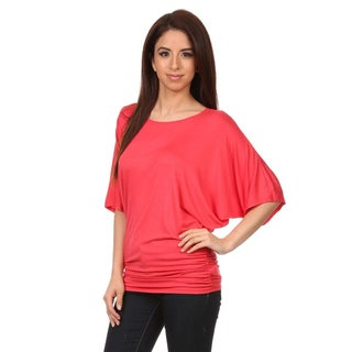 MOA Collection Women's Solid-color Batwing Top