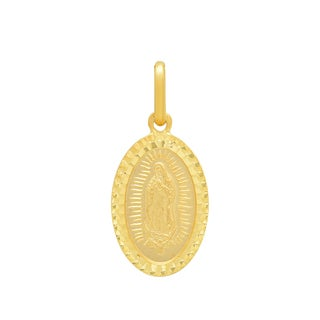 Sterling Essentials Italian 14K Gold 16 x 11 mm Guadalupe Medal Pendant