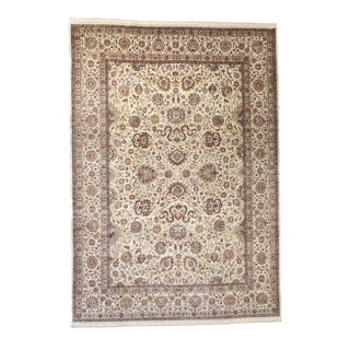 Somette Hand-knotted Kashan Tan Oriental Wool Rectangular Area Rug (10' x 14')