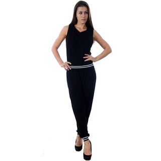 Women's Black Cotton-blended Sleeveless Hooded Jumpsuit