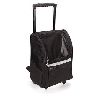 East Side Collection On-the-Go Black Polyester/Metal Rolling Pet Carrier