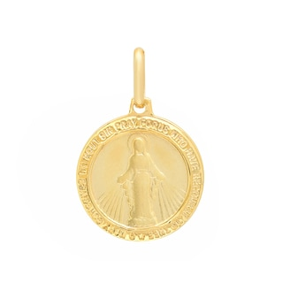 Sterling Essentials Italian 14K Gold 15 mm Miraculous Medal Pendant