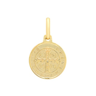 Sterling Essentials Italian 14K Gold 15 mm San Benito Medal Pendant