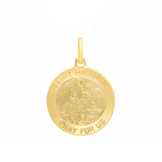 Sterling Essentials Italian 14K Gold 18 mm St. Michael Medal Pendant