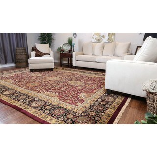 Somette Hand-knotted Isfahan Burgundy Oriental Wool Rectangular Area Rug (10' x 14')