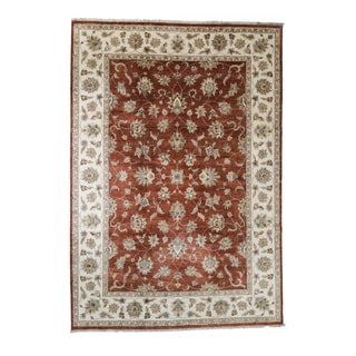 Somette Hand-knotted Kashan Salmon Oriental Wool Rectangular Area Rug (10' x 14')