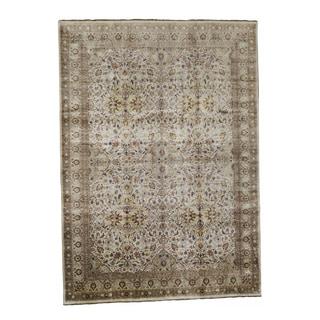 Somette Hand-knotted Kashan Cream Oriental Wool Rectangular Area Rug (10' x 14')
