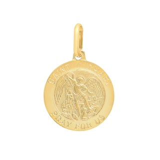 Sterling Essentials Italian 14K Gold 15 mm Saint Michael Medal Pendant