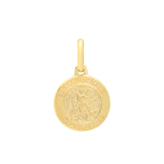 Sterling Essentials Italian 14K Gold 12 mm St.Michael Medal Pendant